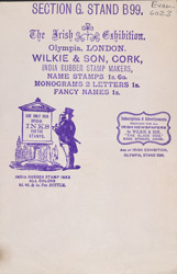 Advert for Wilkie & Son, Indian inks & rubber stamp makers